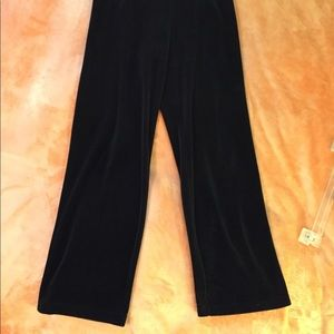 "Black Velour Slacks 32""W 29""L elastic waist"